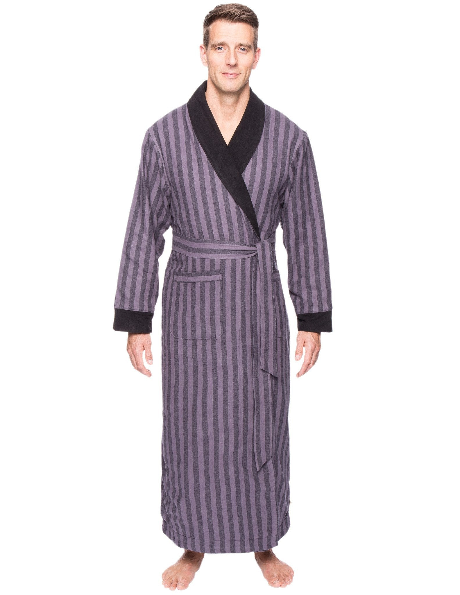 Men's Premium 100% Cotton Flannel Fleece Lined Robe - Stripes Black/Grey