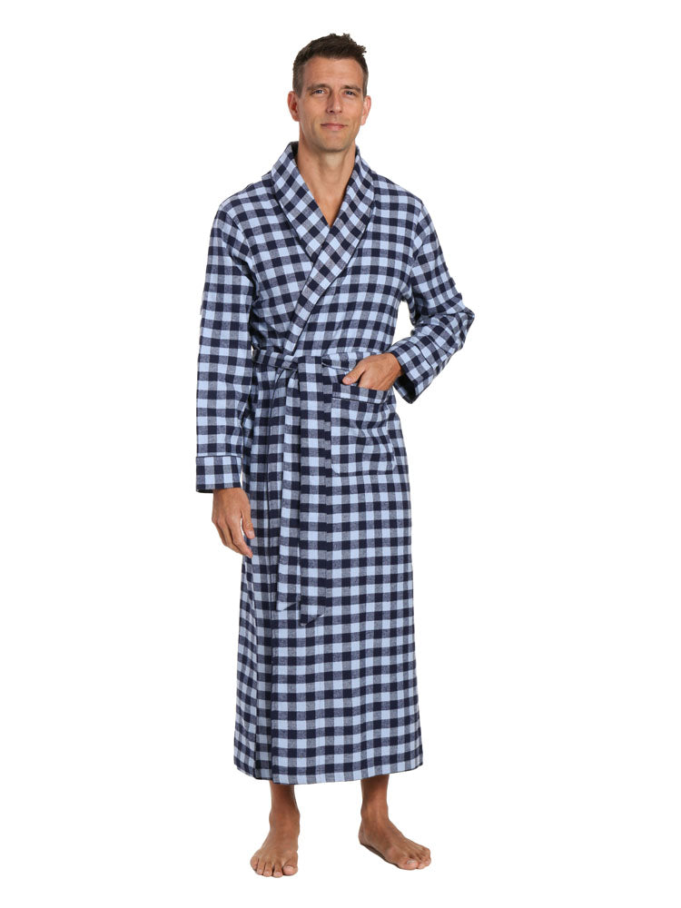 Mens Robe - 100% Cotton Flannel Robe Long - Gingham Checks - Navy Blue