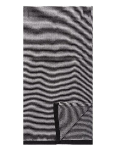 Box-Packaged Men's Uptown Premium Knit Striped Scarf - Black/Grey
