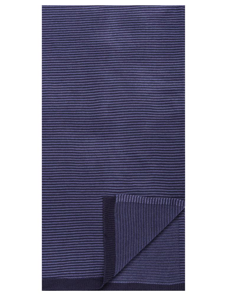 Box-Packaged Men's Uptown Premium Knit Striped Scarf - Navy/Blue