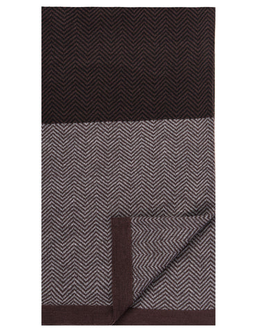 Box-Packaged Men's Uptown Premium Knit Color Blocked Herringbone Scarf - Fig/Black