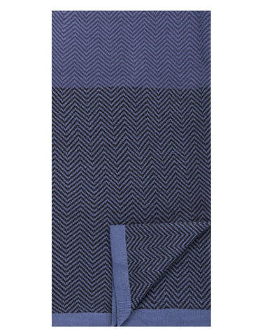 Box-Packaged Men's Uptown Premium Knit Color Blocked Herringbone Scarf - Navy/Black