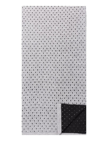 Box-Packaged Men's Uptown Premium Knit Dot Pattern Scarf - Black/Heather Grey
