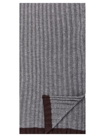 Box-Packaged Men's Uptown Premium Knit Texture Ribbed Scarf - Heather Grey