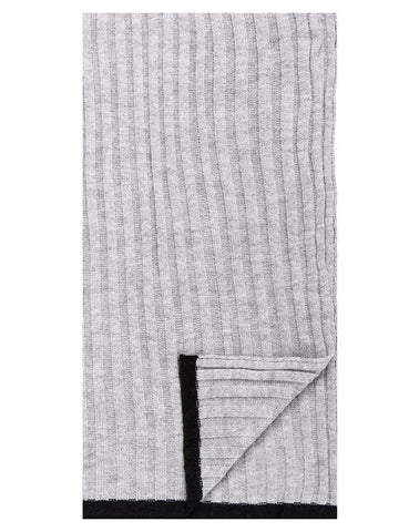 Box-Packaged Men's Uptown Premium Knit Texture Ribbed Scarf - Light Grey