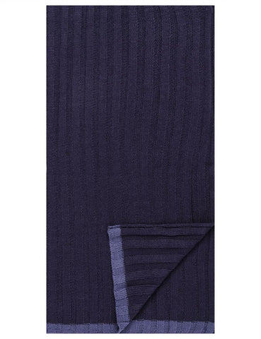Box-Packaged Men's Uptown Premium Knit Texture Ribbed Scarf - Navy
