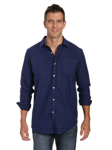 Mens 100% Cotton Flannel Shirt - Regular Fit - Checks - Blue-Black