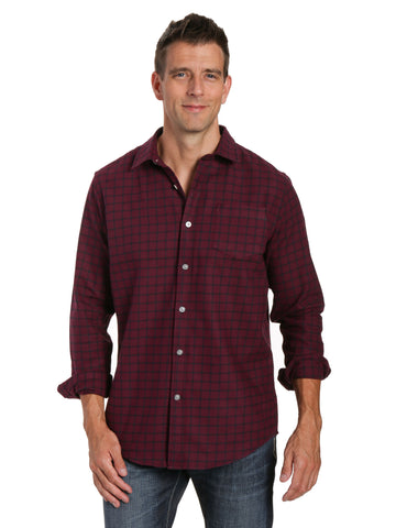 Mens 100% Cotton Flannel Shirt - Regular Fit - Checks - Fig-Black