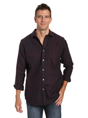 Mens 100% Cotton Flannel Shirt - Regular Fit - Checks - Black-Fig