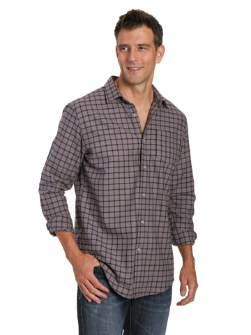 Mens 100% Cotton Flannel Shirt - Regular Fit - Checks - Charcoal Black