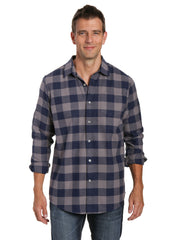 Mens 100% Cotton Flannel Shirt - Regular Fit - Gingham Checks - Charcoal-Navy