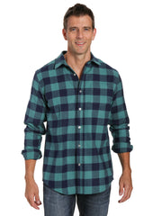 Mens 100% Cotton Flannel Shirt - Regular Fit - Gingham Checks - Blue-Green