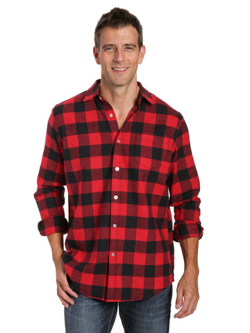 Mens 100% Cotton Flannel Shirt - Regular Fit - Gingham Checks - Black-Red
