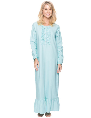 Women's Premium Flannel Long Gown - Herringbone Aqua