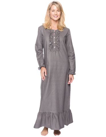 Women's Premium Flannel Long Gown - Pindots Charcoal