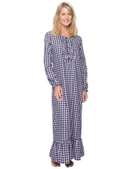 Women's Premium Flannel Long Gown - Gingham Blue/Heather