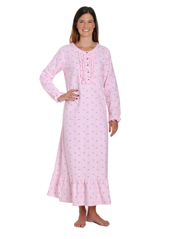 Women's Premium Flannel Long Gown - Twinkle Pink-Grey