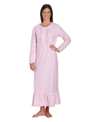 Women's Premium Flannel Long Gown - Brocade Pink-White
