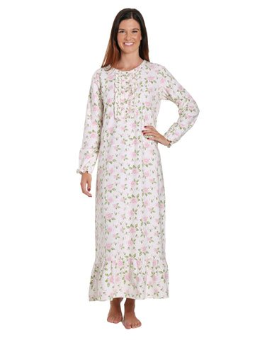 Women's Premium Flannel Long Gown - Gardenia Cream-Pink