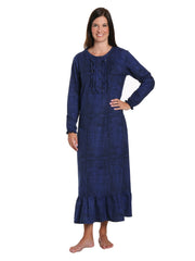 Women's Premium Flannel Long Gown - Jutelicious Blue