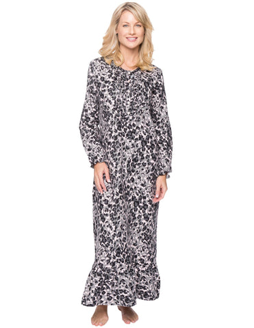Women's Premium Flannel Long Gown - Leopard Pink/Grey