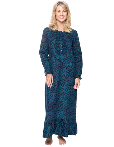 Women's Premium Flannel Long Gown - Moroccan Navy/Teal