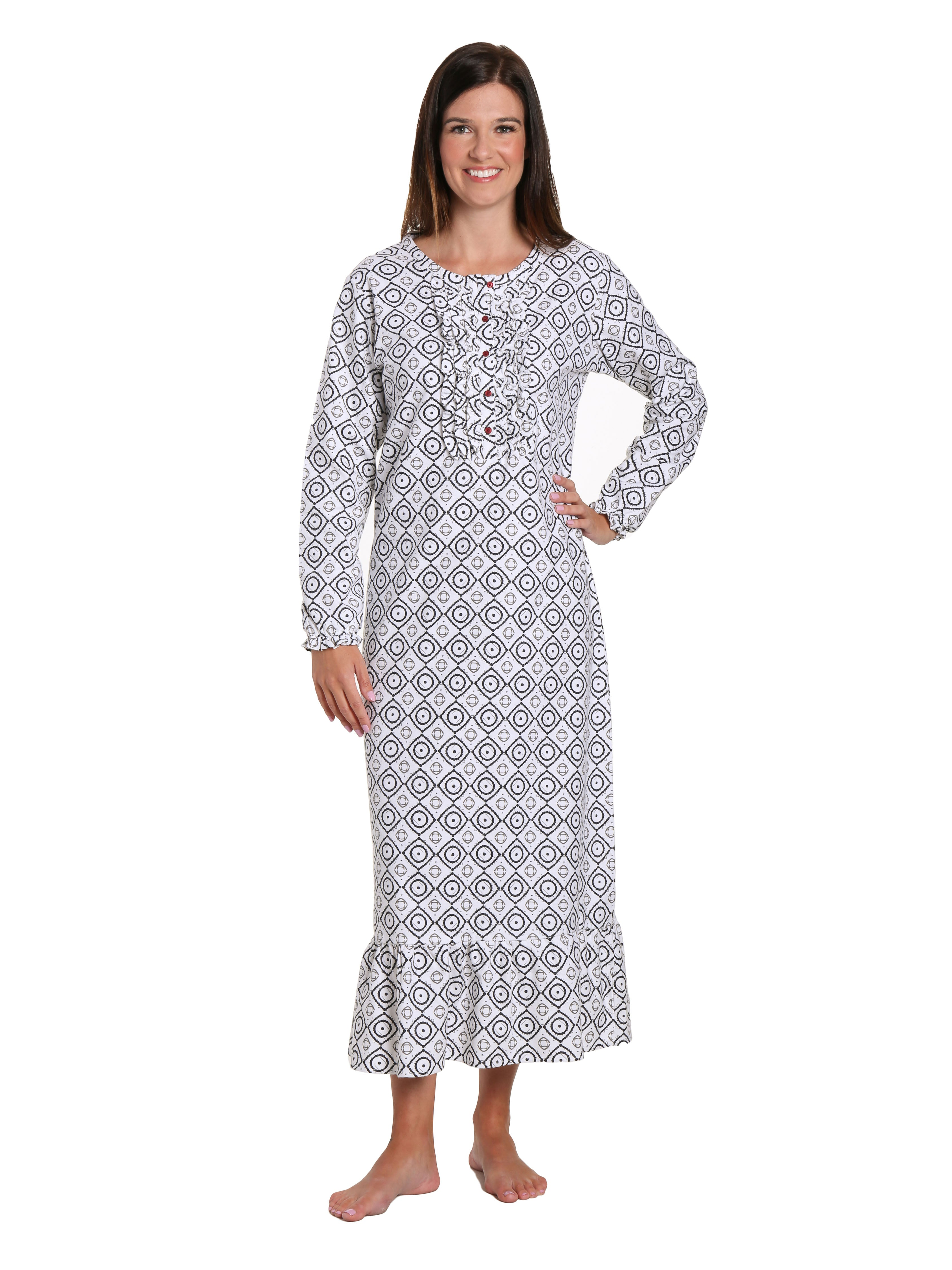 Women's Premium Flannel Long Gown - Moroccan White-Black
