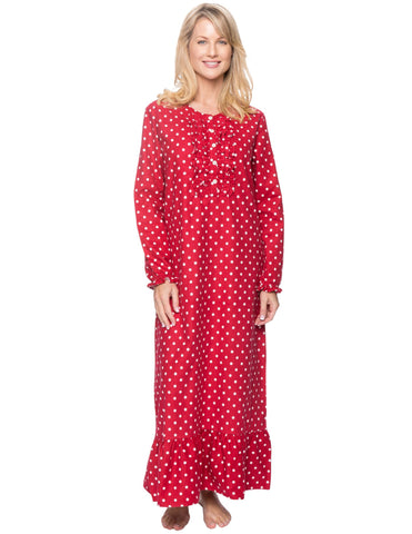 Women's Premium Flannel Long Gown - Dots Diva Red