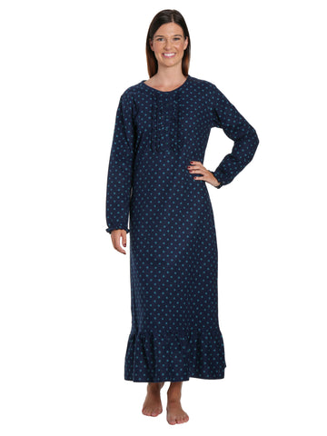Women's Premium Flannel Long Gown - Dots Diva Blue