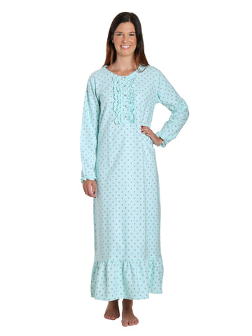 Women's Premium Flannel Long Gown - Dots Diva Aqua-Gray
