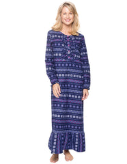 Women's Premium Flannel Long Gown - Nordic Snowflakes Blue