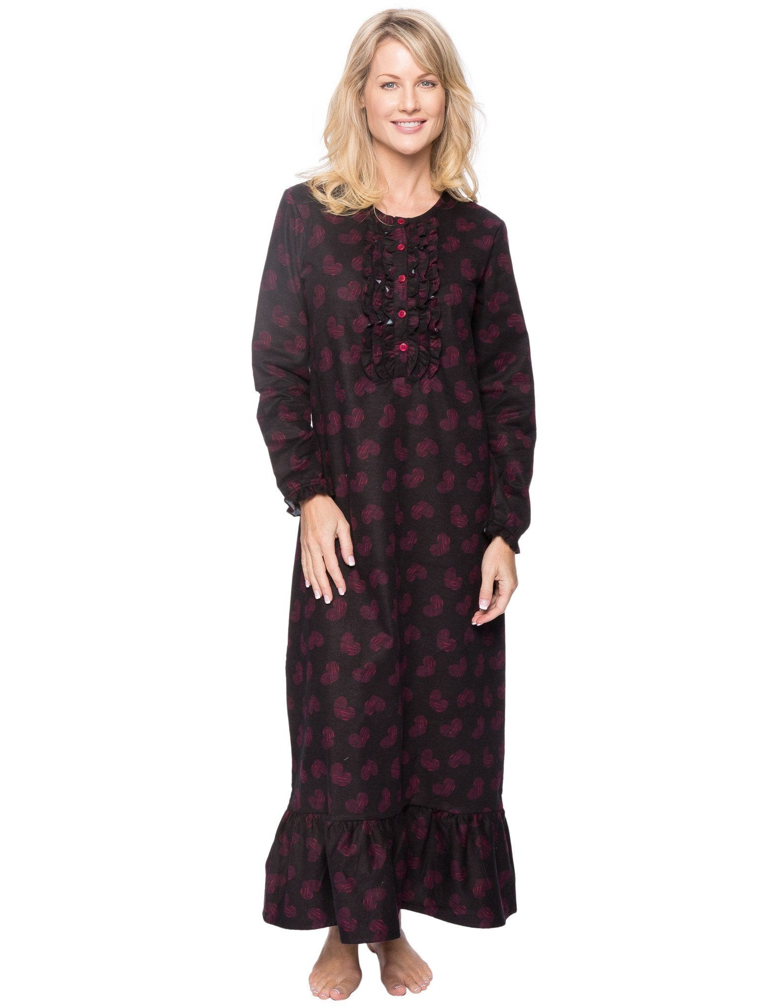 Women's Premium Flannel Long Gown - Hearts Black/Red