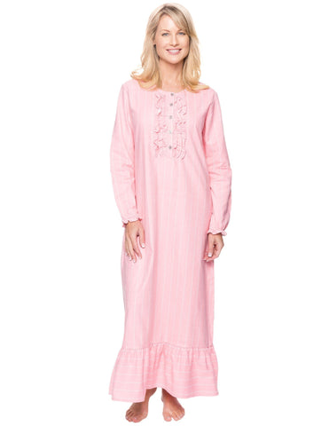 Women's Premium Flannel Long Gown - Stripes Pink