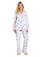 Womens Premium 100% Cotton Flannel Pajama Sleepwear Set - Snowfall White-Gray
