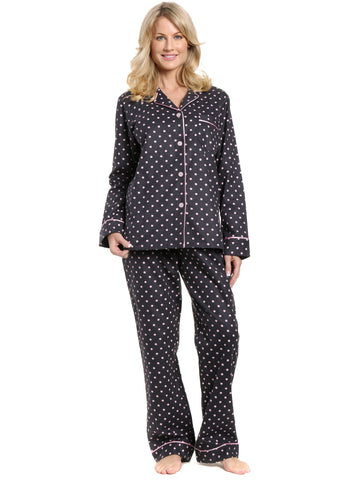 Womens Premium 100% Cotton Flannel Pajama Sleepwear Set - Dots Diva Gray-Pink