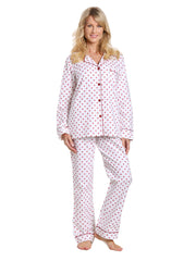Womens Premium 100% Cotton Flannel Pajama Sleepwear Set - Dots Diva White-Red