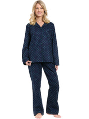 Womens Premium 100% Cotton Flannel Pajama Sleepwear Set - Dots Diva Blue