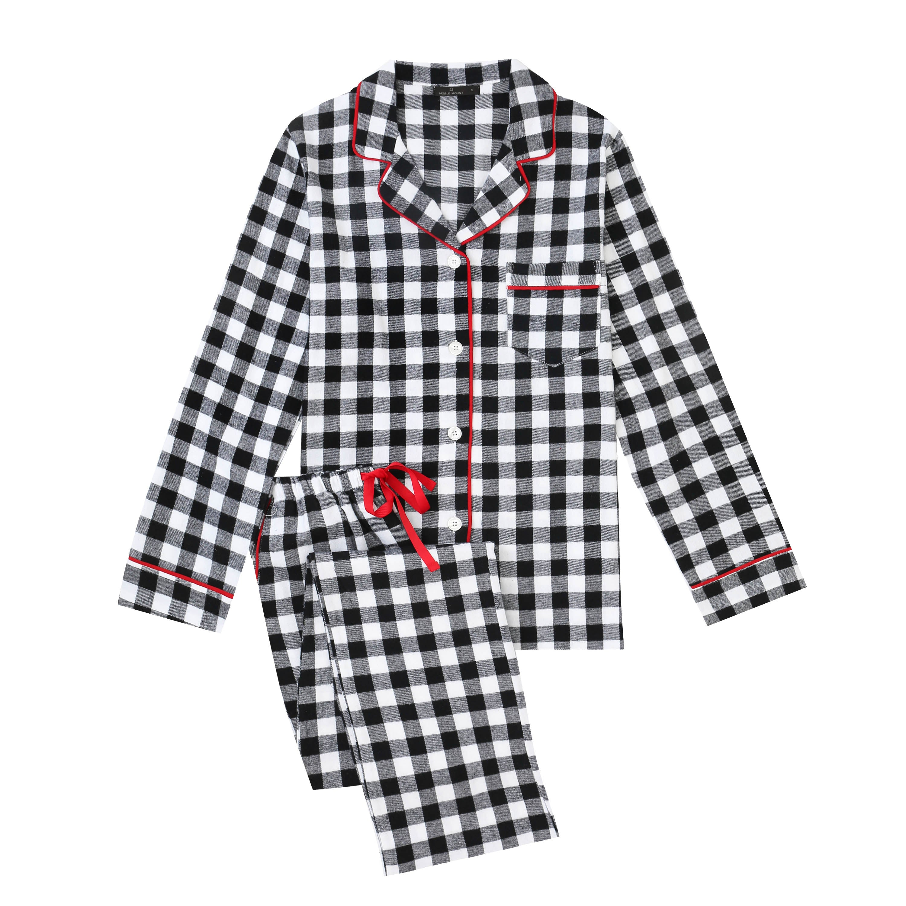 2Pc Lightweight Flannel Womens Pajama Sets - Gingham Black-White