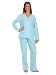 Womens Premium 100% Cotton Yarn Dyed Flannel Pajama Sleepwear Set - Herringbone Aqua