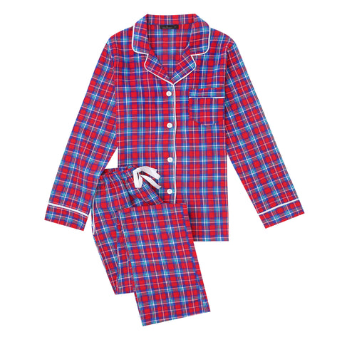 2Pc Lightweight Flannel Womens Pajama Sets - Plaid Red-Blue