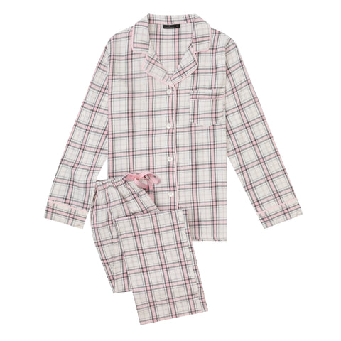 2Pc Lightweight Flannel Womens Pajama Sets - Plaid Pink-White-Gray