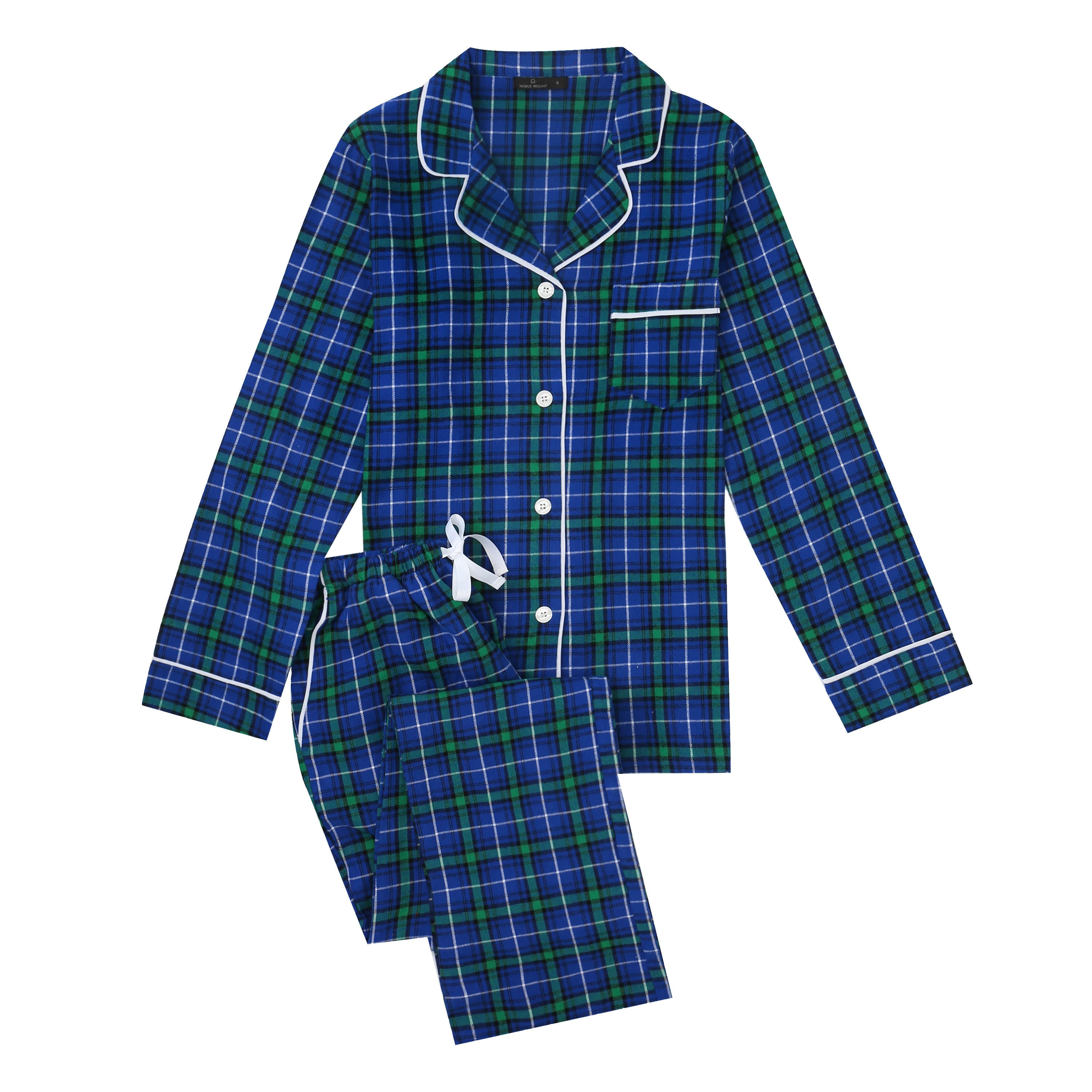 2Pc Lightweight Flannel Womens Pajama Sets - Blue-Green Scotch Plaid