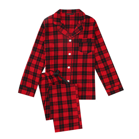 2Pc Lightweight Flannel Womens Pajama Sets - Red-Black Tartan Plaid