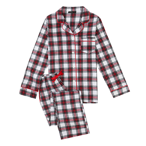 2Pc Lightweight Flannel Womens Pajama Sets - Red-White-Black Plaid