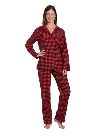 Womens Premium 100% Cotton Yarn Dyed Flannel Pajama Sleepwear Set - Gingham Red-Black