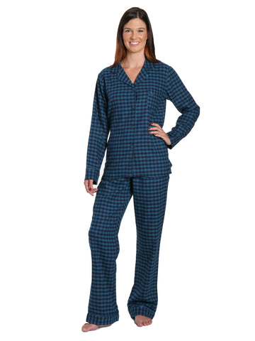 Womens Premium 100% Cotton Yarn Dyed Flannel Pajama Sleepwear Set - Gingham Teal Blue