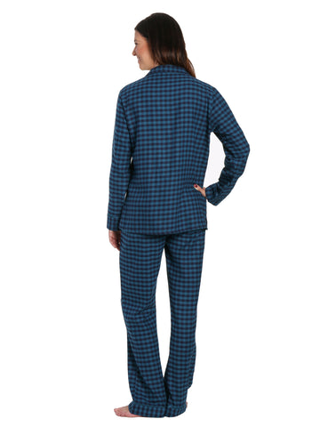 02ea313579 Womens Premium 100% Cotton Yarn Dyed Flannel Pajama Sleepwear Set - Gingham  Teal Blue. Gingham Teal Blue