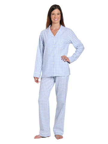 Womens Premium 100% Cotton Yarn Dyed Flannel Pajama Sleepwear Set - Gingham Blue-White