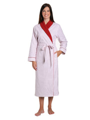 Women's Premium Flannel Fleece Lined Robe - Geo Mosaic White-Red