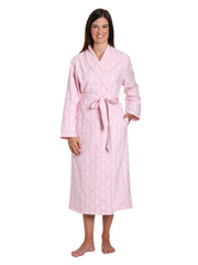 Women's Premium Flannel Fleece Lined Robe - Brocade Pink-White